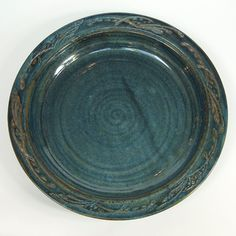 Large Platter in Rustic Indigo by Patrice Voelkel. One of a kind. $285 #france #ceramics #platter #french_ceramics #pottery