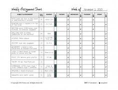 Customizable Homeschool Weekly Assignment Planner