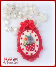 Minilop bunny rabbit on resin cameo setting on pearls - handmade by Razz My Sweet Skull