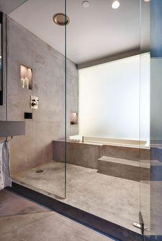 Penthouse Renovation in Tribeca Minimalist Bathroom, Modern Bathroom, Small Bathroom, Bathroom Layout, Bathroom Interior Design, Dream Bathrooms, Beautiful Bathrooms, Concrete Bathtub, Japanese Bathroom