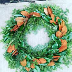 Good 'ole #magnolia ... Always there to make a plain balsam wreath gorgeous! #floristlife #floraldesign #christmaswreath #natural #lovemyjobS
