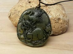 Mens necklace. Carved Jade pendant. Longevity by empoweredcrystals