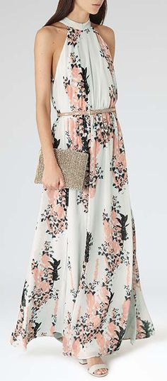 Coral & Mint Halter Maxi ❤︎ I don't usually like the front cut but this one works Cute Dresses, Beautiful Dresses, Summer Dresses, Pretty Outfits, Cute Outfits, Love Fashion, Womens Fashion, Floral Print Maxi Dress, Looks Cool