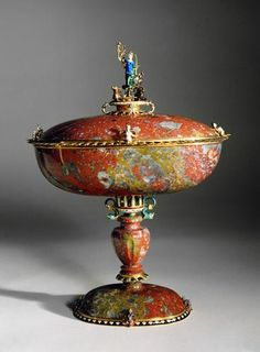 "Cover bowl on high foot with the figure of ""Virtembergia""  Artist: Hans Kobe Main  died 1623 in Stuttgart"