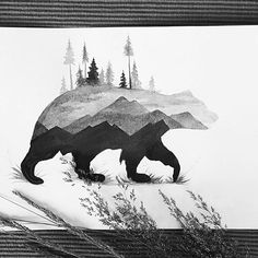 I'm not 100% happy with the result, but I thought I would share it anyway   #bear #mountains #tree #gallery #creative #photooftheday #instaartist #graphic #artoftheday #art #illustration #drawing #draw #sketch #pencildrawing #blackandwhite #animal #natural #nature #animalkingdom #instagood #paint #watercolor #aquarelle #tagsforfollow #TagsForLikes #grass #design #decor #doubleexposure270k