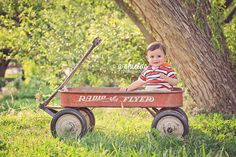 9 month session | Radio Flyer Wagon | Thompson Park | Baby Summer Session | Photo by A Shields Photography