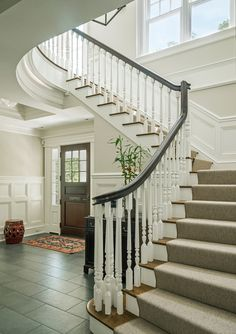 Classic Elegance - traditional - Staircase - Boston - Jan Gleysteen Architects, Inc Boston, Traditional Staircase, Traditional Decor, Staircase Makeover, Entry Foyer, Tile Entryway, Entryway Stairs, Front Hallway, Georgian Homes