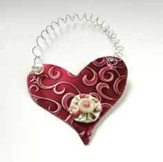 Metal Heart Ornament  Recycled Ornament  Eco Friendly by PlaynwithScraps, $5.00