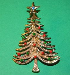 Christmas Tree Brooch Blue Rhinestone  Red & by TheIDconnection, $22.00