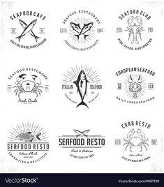 Vintage Seafood Restaurant Logo vector image on VectorStock Restaurant Club, Restaurant Logo Design, Seafood Restaurant, Chips Restaurant, Letterhead Design, Branding Design, Woodworking Logo, Woodworking Ideas, Woodworking Bandsaw