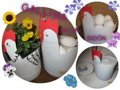 DIY Gallina para huevos Reciclaje botellas plástico PET día de madres hen plastic bottle mothers day - YouTube