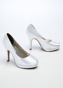 "This high heel platform pump is the definition of understated and elegant style!  Heel measures 3 3/4"".  Fully lined. Imported.  Dyeable shoes are sold in White as shown. Bring your dyeable shoes to your local David's Bridal Store to have them dyed in any of our exclusive colors.  About Dyeable Shoes."