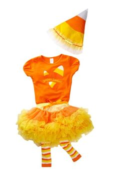 Toddler Candy Corn Tutu Outfit.