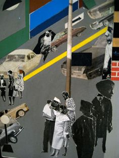Romare Bearden - Collaging photography images digitally. I like how the collage is showing a specific time period within the images of the people and combining it with contemporary elements such as digital art.