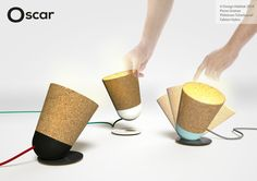 Oscar - It Design Habitat on Behance Wooden Desk Lamp, Ceramic Light, Keep It Simple, Lampshades, Deco, Industrial Design, Habitats, Light Fixtures, Cork