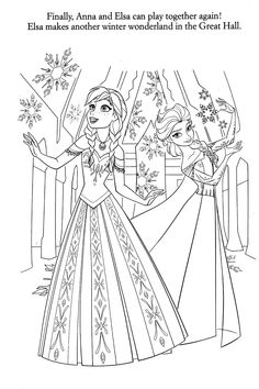 Frozen Elsa Anna Coloring Page See More Disney Pages