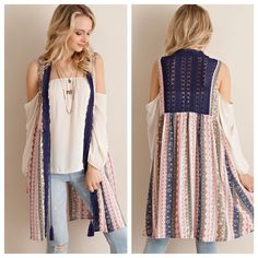 Boho Sleeveless Printed Cardigan Gorgeous, casual, & boho! Features lace back & front trim, open cardigan, tassels, and fun boho print. Love the look pictured with an off the shoulder blouse. ;) Size S (2/4) M (6/8) L (10/12). 1/2/2 No trades! Sweaters Cardigans