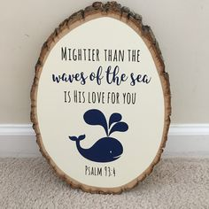 Whale Nautical Theme Nursery Decor Tree Wood Slice Sign Personalized Baby Name Gift Ocean Baby Shower Gift Psalm 934 Dream Big Nautical Theme Nursery, Whale Nursery, Ocean Nursery, Baby Whale, Baby Boy Nursery Themes, Baby Boy Nurseries, Nursery Ideas, Woodland Nursery, Baby Baby