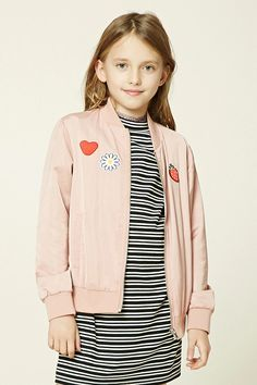 Forever 21 Girls - A woven bomber jacket featuring various patch graphics including a heart, daisy, and strawberry, zip-up front, ribbed trim, two front slit pockets, and long sleeves.