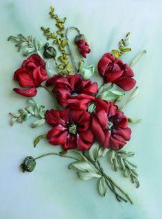 "Gallery.ru / ""Красные маки"" - Вышивка лентами 2016 год. - marusya78"