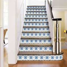 Stair riser decals 24 Blue Bathroom Tile Stickers, Ceramic Tile Bathrooms, Kitchen Decals, Tile Decals, Vinyl Tiles, Wall Stickers, Stairs In Kitchen, Tuile, Stair Risers