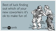 Best of luck finding out which of your new coworkers it's ok to make fun of.