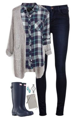 #fall #outfit / Plaid Shirt + Hunter Boots