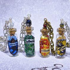 Harry Potter Hogwarts House Crest Inspired Mini Glass Bottle Charm Bracelets ~ Gryffindor Slytherin Ravenclaw Hufflepuff by Adorna Jewellery on Etsy