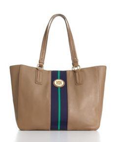 Tommy Hilfiger Handbag, Pebble Leather Logo Tote - Tote Bags - Handbags & Accessories - Macy's