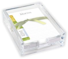 White Wine Memo Sheets with Acrylic Holder