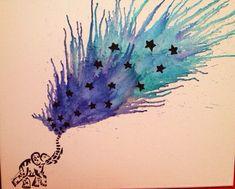 Celestial Elephant Melted Crayon Art on Etsy, $50.00