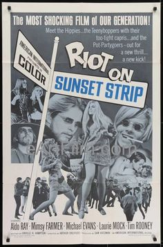 Riot On Sunset Strip - Aldo Ray, Mimsy Farmer, Michael Evans, Tim Rooney Movie Posters For Sale, Original Movie Posters, Sale Poster, Film Posters, Old Movies, Vintage Movies, Mimsy Farmer, Aldo Ray, Hollywood Poster