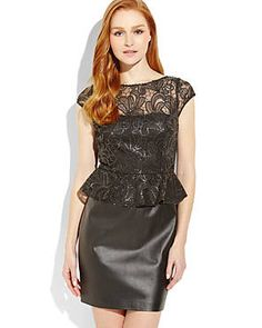 AIDAN BY AIDAN MATTOX Black Sequin Mesh Peplum Dress #theromantics #love #datenight #peplum #dresses #century21stores