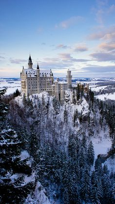 One of the castles that Disney Imagineers drew inspiration from for Cinderella castle at Walt Disney World-Winter at Neuschwanstein Castle, Germany