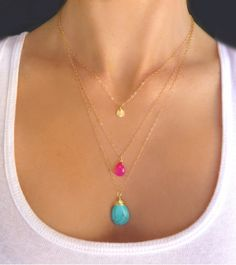 Layered gem necklace