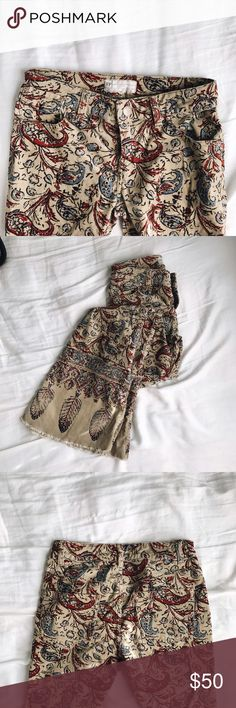 Free People Flare Corduroy Hippie Pants Adorable paisley patterned pants. A little long for me (I'm 5'3'') so usually worn worn heels. Super flare bottoms! Ultimate Bonaroo pants. Free People Pants Boot Cut & Flare