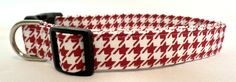 Roll Tide Crimson Red and White Houndstooth Dog Collar