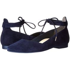 Paul Green Leanna Flat (Blue Suede) Women's Flat Shoes ($299) ❤ liked on Polyvore featuring shoes, flats, suede slip on shoes, blue suede shoes, flat pointed toe shoes, suede shoes and blue flats