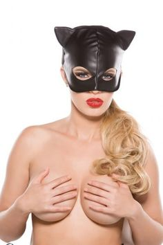 Black Faux Leather Cat Mask O/S Allure Lingerie Accessories Black Faux Leather Cat Mask O/S. Please note show with bra, not included.