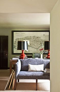 This custom framed antique map makes a perfect focal point in this home office!