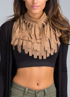 Fringe 4Ever Faux Suede Necklace Scarf