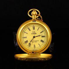 18K Gilt Gold Bronze Mechanical Pocket Watch