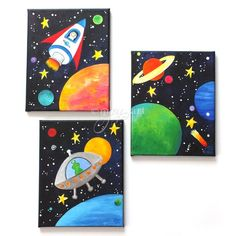 CUSTOM Space Themed Wall Art for Kids Set of 3 810 inch acrylic on canvas paintings for children Kids Canvas, Mini Canvas Art, Black Canvas, Canvas Tent, Canvas Frame, Space Painting, Painting For Kids, Space Artwork, Painting Art