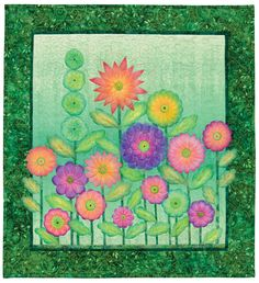 Would you believe the detailed shading of these flowers was created with... crayons? From the book Creative Quilts from Your Crayon Box.