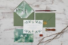 Many shades of green for your wedding invitation! Watercolor background and greenery, envelope liner and wax seal - all to complete an organic and natural look. Wedding Invitation Design, Wedding Stationery, Envelope Liners, Wax Seals, Watercolor Background, Natural Looks, Shades Of Green, Personalized Wedding, Greenery
