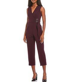 Calvin Klein Belted Scuba Crepe Sleeveless Cropped Jumpsuit | Dillard's