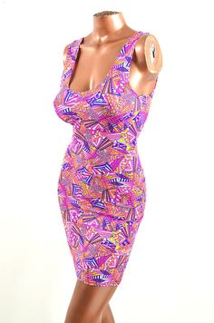 NEON UV Glow Sunny Geometric Pink & Yellow by CoquetryClothing, $39.99