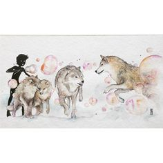 """""""Playing with Wolves""""  Watercolour on Fabriano Artistico size 50x28cm.  #watercolor #watercolour #art #artwork #painting #illustration #wolf #wolves by #jongkie by jongkie"""
