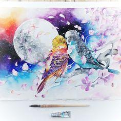 """""""Kiss Me Heal Me"""" - Watercolor by Luqman Reza Mulyono - Jongkie"""