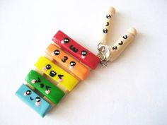 Cute Polymer Clay Charms | Cute Rainbow Xylophone with Mallets Polymer Clay Charm